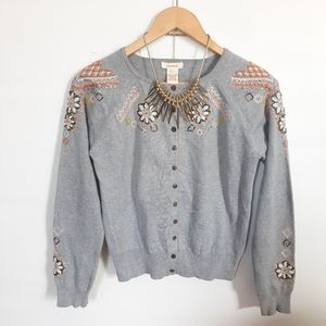 Sundance embellished short buttons sweater